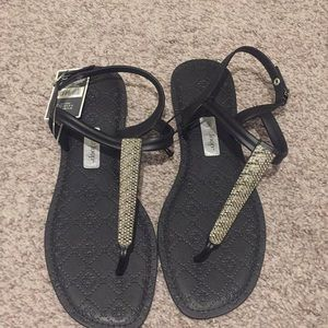 Black and silver sandals size 10 nwt
